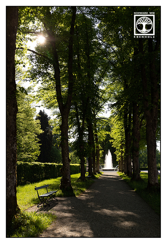 Chiemsee, Herrenchiemsee, courtyard, park, fountain, alley, avenue
