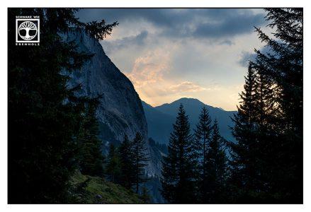 mountain sunset, blue mountains, alps, austria