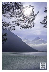 blue lake, lake winter, frozen lake, heiterwanger see, lake heiterwang, austria
