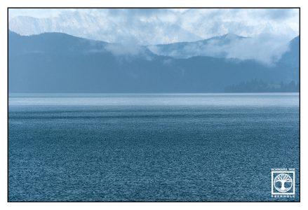 Walchensee, Lake Walchen, Bavaria, Germany, mountain lake, blue lake, rainy day, lake rain
