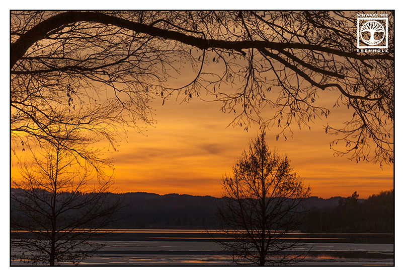 Sonnenuntergang orange, Sonnenuntergang See, Kochelsee