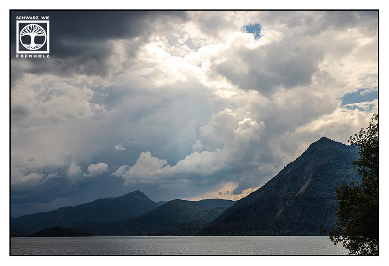 Walchensee, Lake Walchensee, Lake Walchen, mountains, rainy weather, rainy day, rain