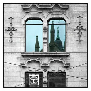 Oslo, Norway, church reflection, reflection glass, reflection window