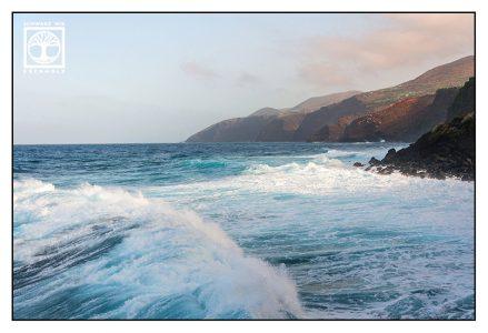 sea, high waves, rough coast, la palma coast, san andres, san andres coast, la palma