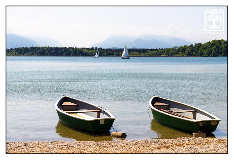 Chiemsee, lake, boats on lake Chiemsee