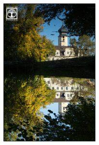 reflection church, surrealism surreal photo, surreal photography, reflections water, reflections lake, autumn lake