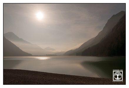 lake heiterwang, heiterwanger see, austria, backlight lake, mountain lake, sunset mountain lake