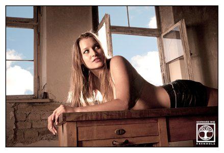 secretary photoshoot, sexy blond photoshoot, abandoned building photoshoot