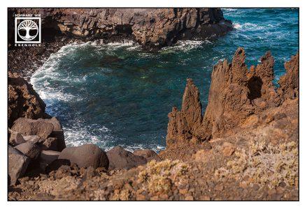 la palma, fuencaliente, lava, shore, coast, rocks, volcano, sea