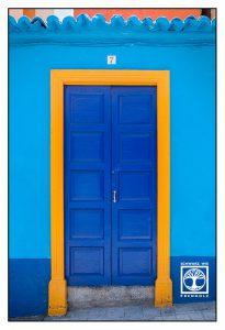 blue door, blue wooden door, la palma, santa cruz de la palma