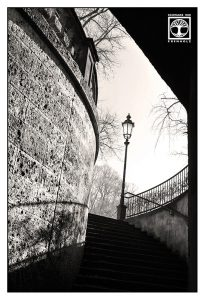 Munich, black and white stairs, black and white staircase