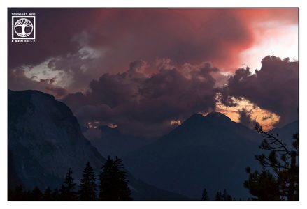mountain sunset, dramatic sunset, austria, ehrwald