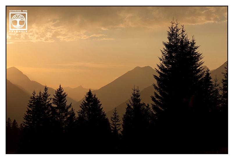 mountain sunset, alps sunset, forest sunset, austria, ehrwald
