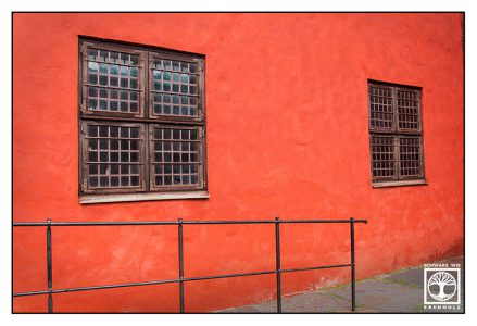 orange wall, windows, Malmö, Sweden, Sverige, orange windows