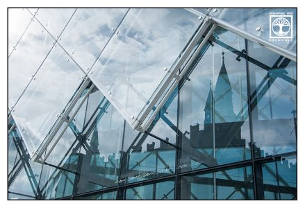 Copenhagen, København, Denmark, church reflection, reflection glass, point line area photography