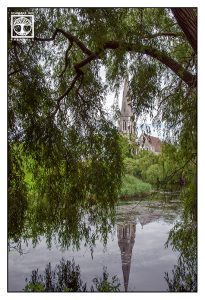 Kopenhagen, Dänemark, Kirche Reflexion, Reflexion Wasser, Reflexion See, Spiegelung Wasser, Spiegelung See