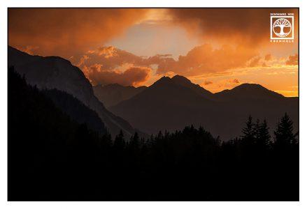 mountain sunset, austria, ehrwald, alps sunset