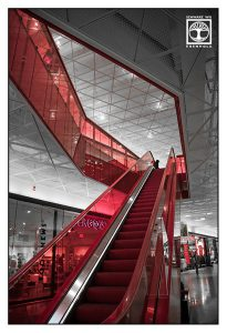 red stairs, red escalator, shopping mall, escalator, moving staircase, moving stairs, moving stairway, red moving staircase, red moving stairway, red moving stairs, Malmö, Sweden, Sverige, Hyllie