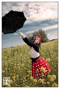 vintage photoshoot, polkadot photoshoot, canola field photoshoot, mary poppins, mary poppins photoshoot
