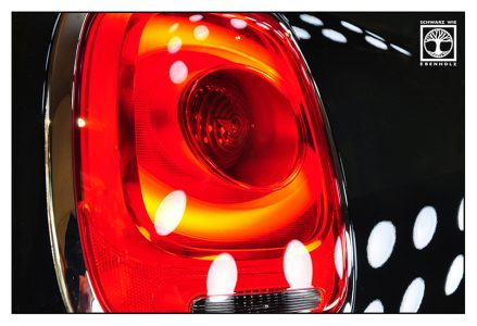 mini cooper, mini cooper backlight, abstract photo, abstract photography, red light, point line area photography