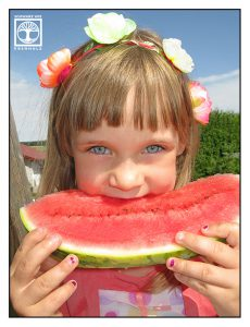 little girl with melon, melon kids, water melon, melon girl, little girl summer