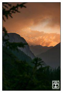 Sonnenuntergang Berge, Österreich, Ehrwald, Sonnenuntergang orange
