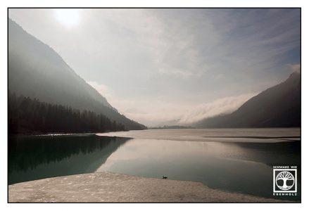 lake winter, lake reflections, reflections water, Lake Heiterwang, Heiterwanger See, Austria, Tyrol, backlight lake