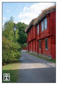 Örebro, Schweden, altes schwedisches haus, rotes schwedisches haus, rotes haus