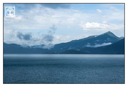 Walchensee, Lake Walchen, Bavaria, Germany, mountain lake, blue lake, rainy day, lake rain