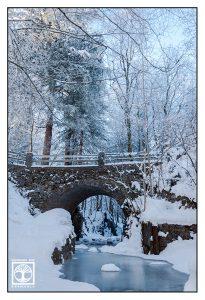 winter bridge, winter forest, winter river, frozen river, snowy trees, Germany, Kochel