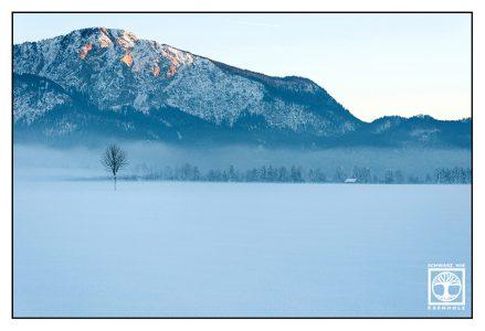 Alpenglühen, berge winter