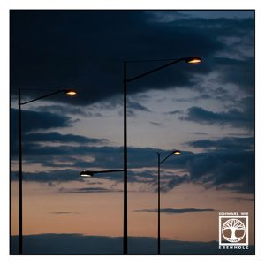 Malmö, streetlamps at night, street lamps sunset, point line area photography